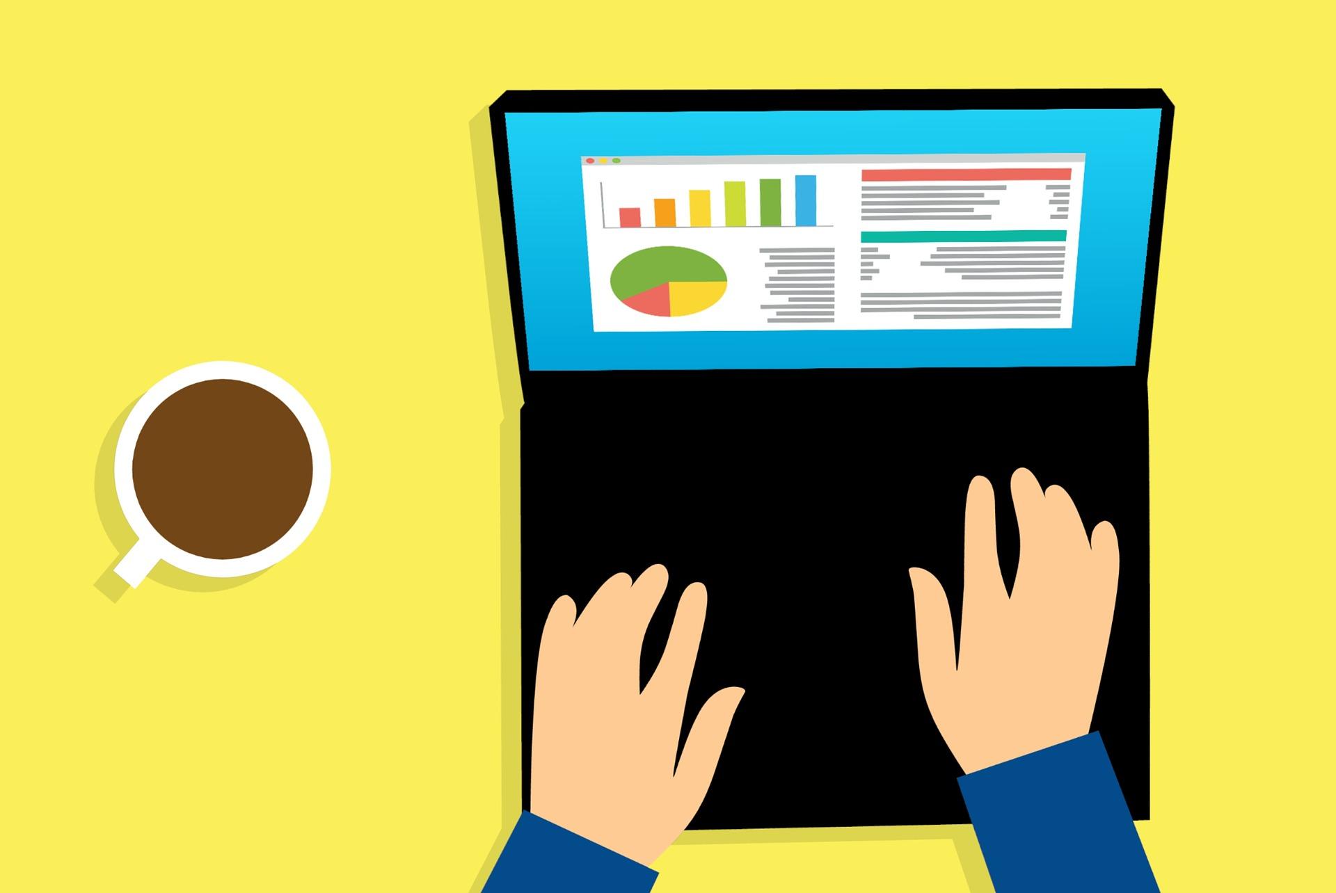 Comicbild, das zeigt wie jemand am Computer Statistiken bearbeitet