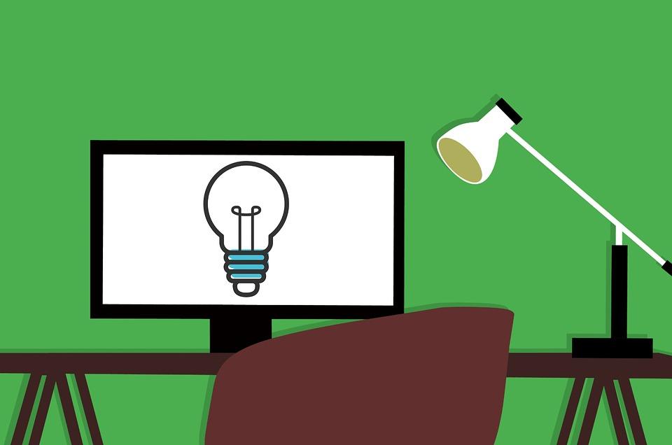 Comicbild mit einer Glühbirne auf einem Bildschirm