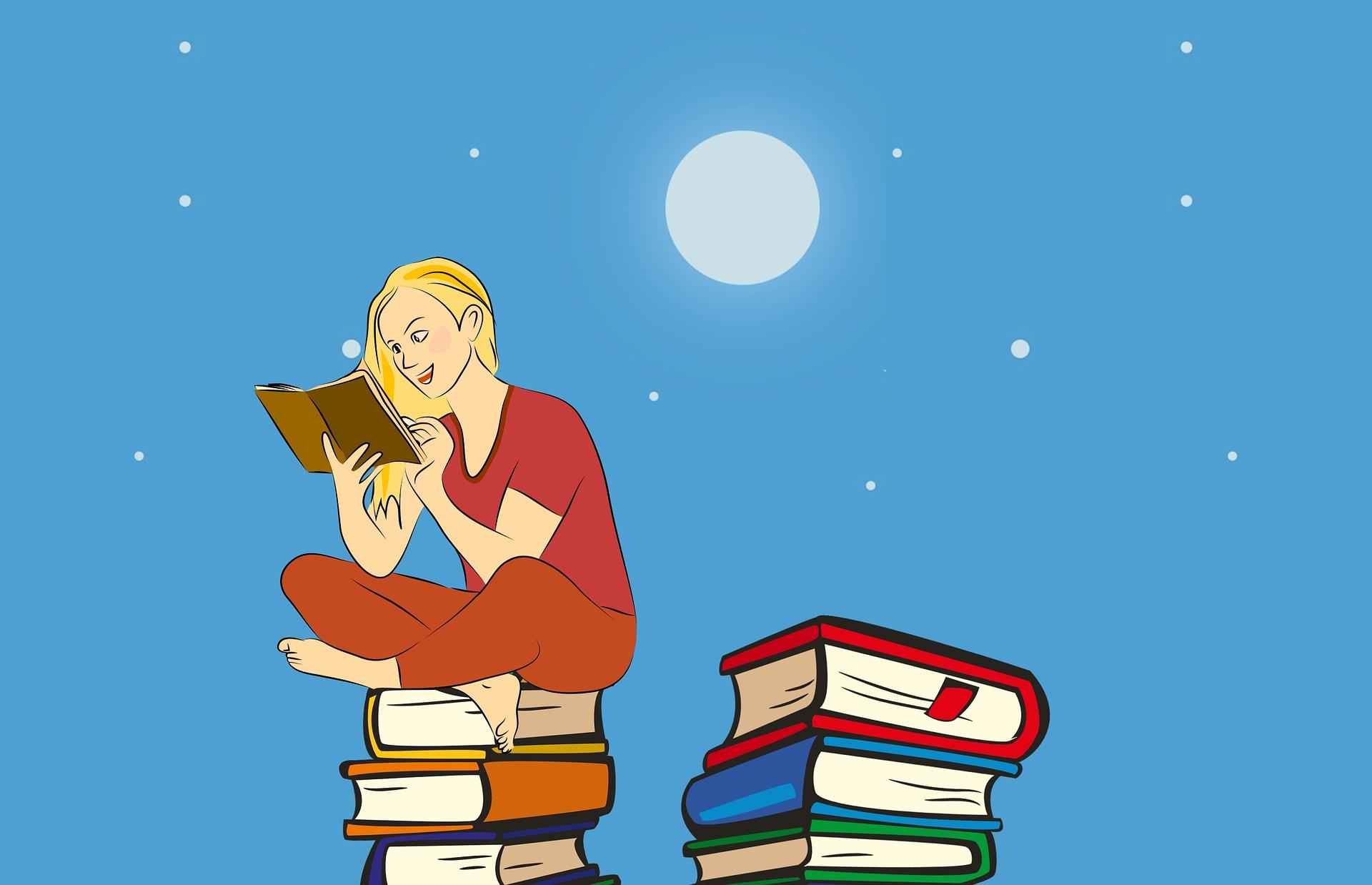 lesende Frau die auf Bücherstapel sitzt