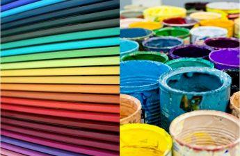 Farbtöpfe und Bundstifte